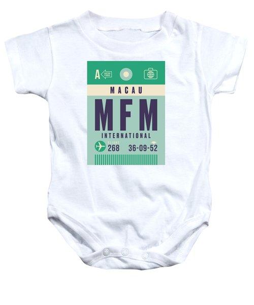 Retro Airline Luggage Tag - Mfm Macau Baby Onesie