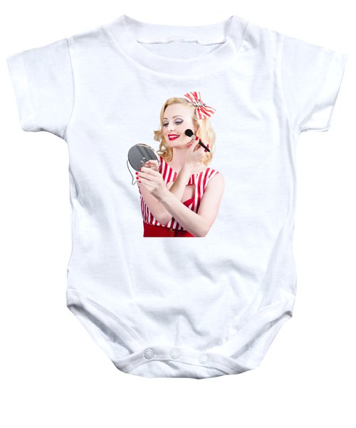 Retro Pin-up Woman Doing Beauty Make-up Baby Onesie