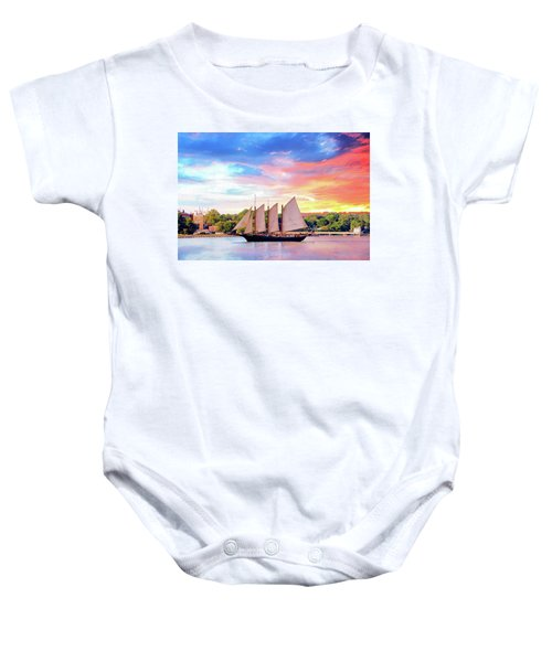 Sails In The Wind At Sunset On The York River Baby Onesie