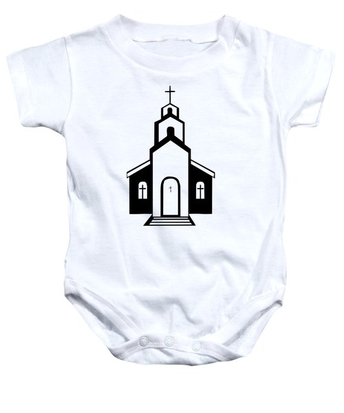 Silhouette Of A Christian Church Baby Onesie