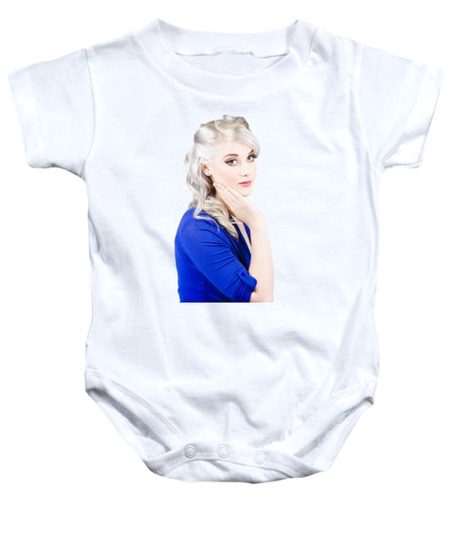 Sixties Skincare Pinup In Blue Baby Onesie