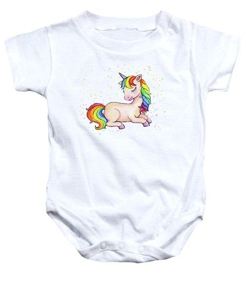 Sleeping Baby Rainbow Unicorn Baby Onesie
