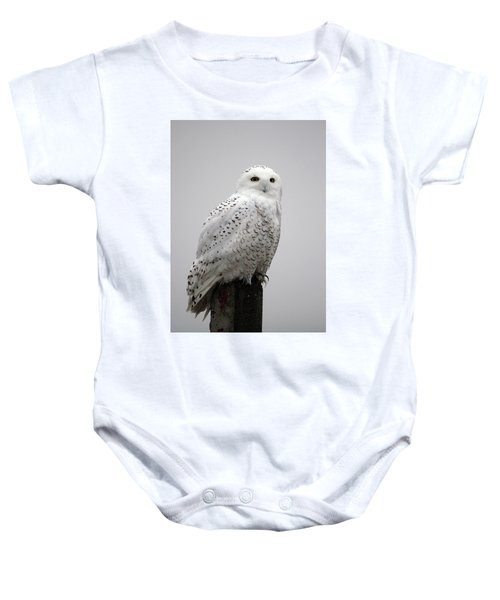 Snowy Owl In Fog Baby Onesie