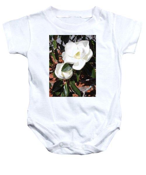 Snowy White Gardenia Blossoms Baby Onesie
