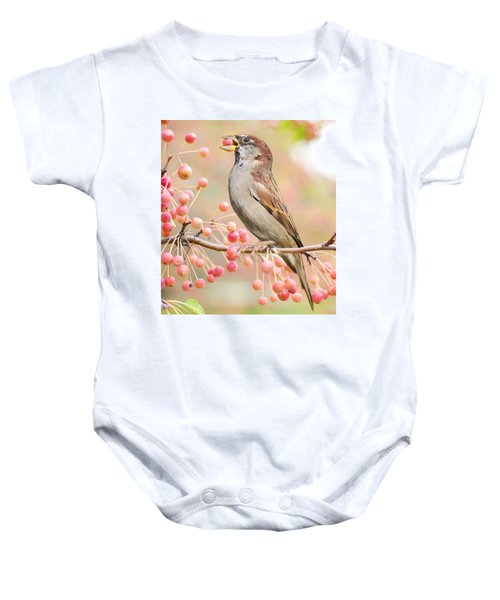 Sparrow Eating Berries Baby Onesie