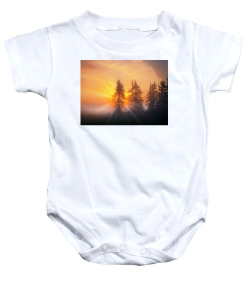 Spruce Trees In The Morning Baby Onesie