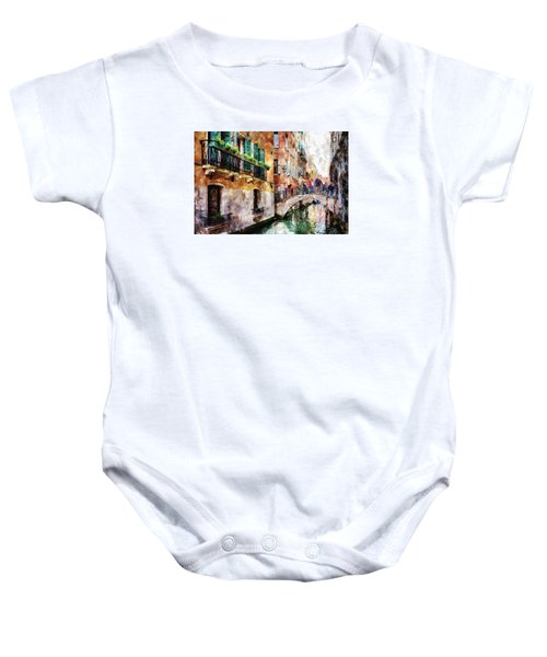 People On Bridge Over Canal In Venice, Italy - Watercolor Painting Effect Baby Onesie