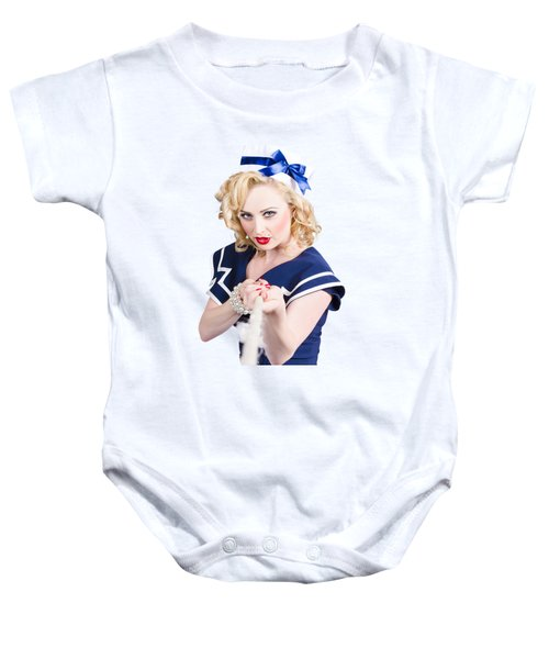 Strong Sailor Pin-up Model Pulling On Tough Rope Baby Onesie