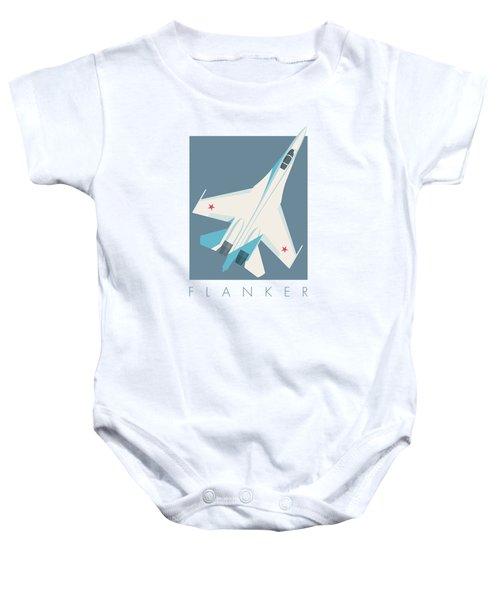Su-27 Flanker Fighter Jet Aircraft - Slate Baby Onesie