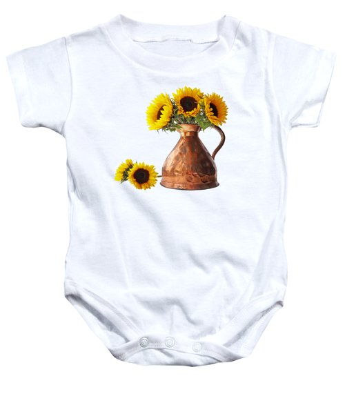 Sunflowers In Copper Pitcher On White Square Baby Onesie