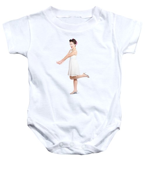 Surprised Housewife Kicking Up Leg In White Dress Baby Onesie