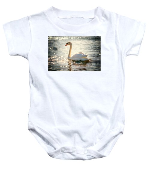 Swan On Golden Waters Baby Onesie