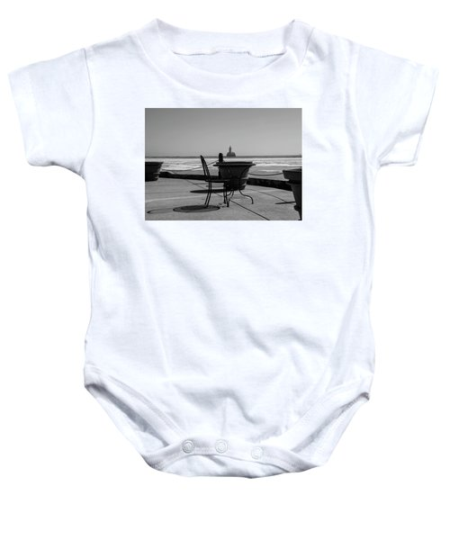 Table For One Bw Baby Onesie