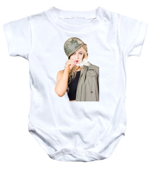 Tough And Determined Female Pin-up Soldier Smoking Baby Onesie