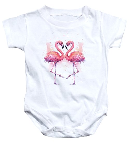 Two Flamingos In Love Watercolor Baby Onesie