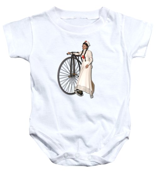 Victorian Nurse Along Penny Farthing Bicycle Baby Onesie