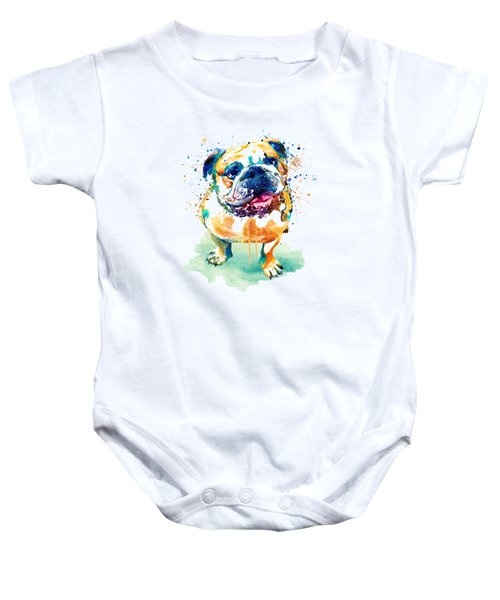Watercolor Bulldog Baby Onesie