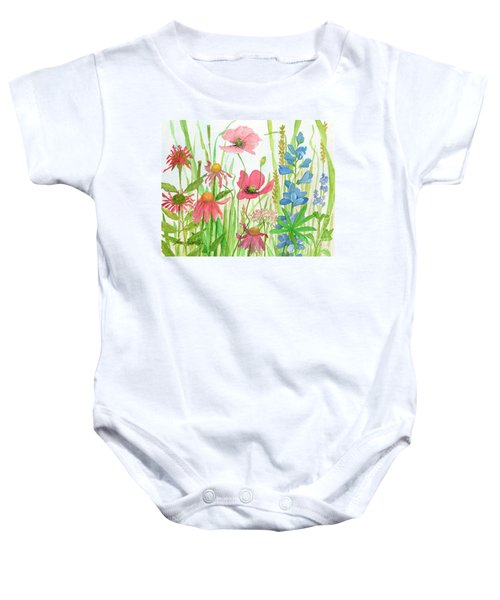 Watercolor Touch Of Blue Flowers Baby Onesie
