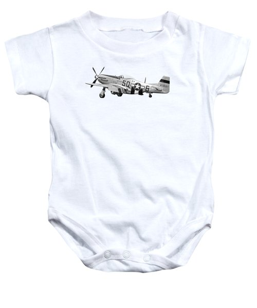 Well Earned Rest P-51 In Black And White Baby Onesie