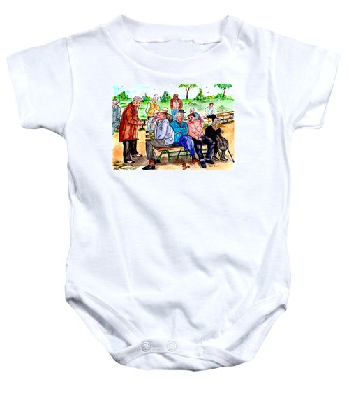When Park Benches Were Filled With People Baby Onesie