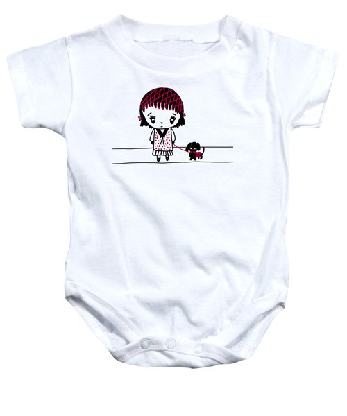 Whimsy Girl And Dog In Black And Red Baby Onesie