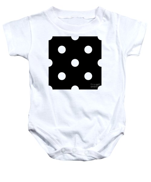 White Dots On A Black Background- Ddh612 Baby Onesie