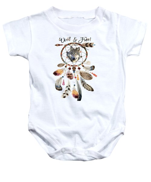 Baby Onesie featuring the mixed media Wild And Free Wolf Spirit Dreamcatcher by Georgeta Blanaru