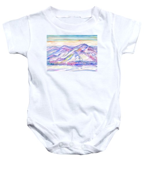 Winter Mountain Landscape Baby Onesie