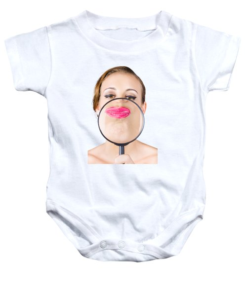 Woman Kissing Magnifying Glass Baby Onesie