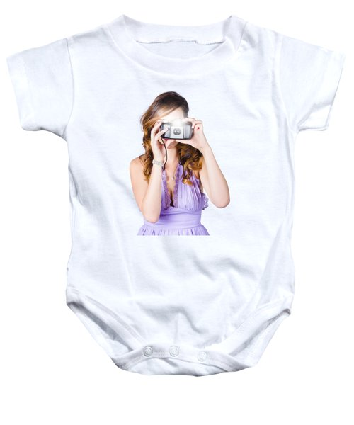 Woman With Camera On White Background Baby Onesie