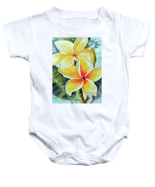 Yellow Plumeria Baby Onesie