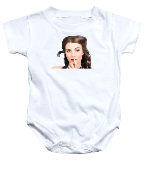 Young Model With Bright Make-up And Clean Nails Baby Onesie