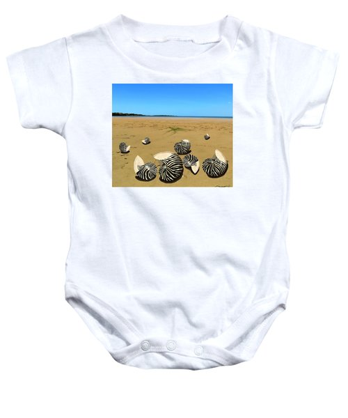 Zebra Nautilus Shells On The Beach  Baby Onesie