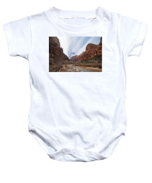 Zion National Park And Virgin River Baby Onesie