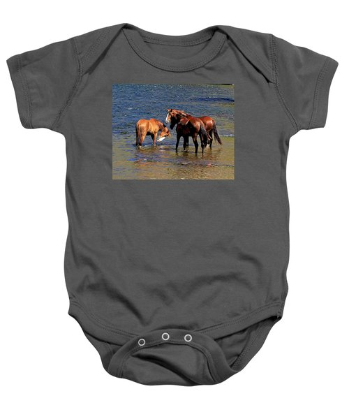 Arizona Wild Horses On The Salt River Baby Onesie