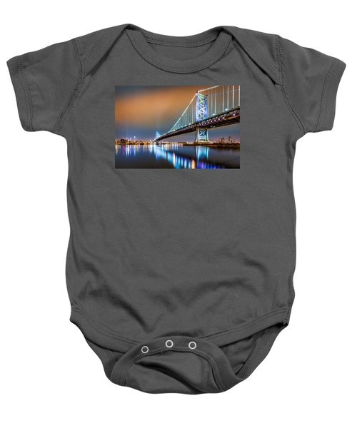 Ben Franklin Bridge And Philadelphia Skyline By Night Baby Onesie