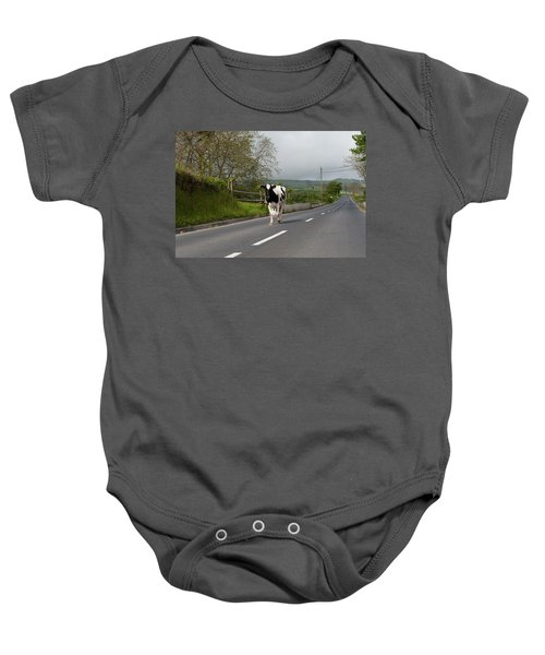Cow Walks Along Country Road Baby Onesie