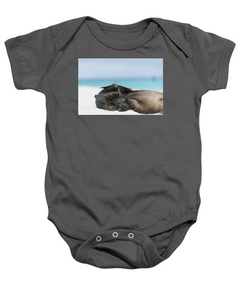 Galapagos Sea Lion Pup Covering Face Baby Onesie