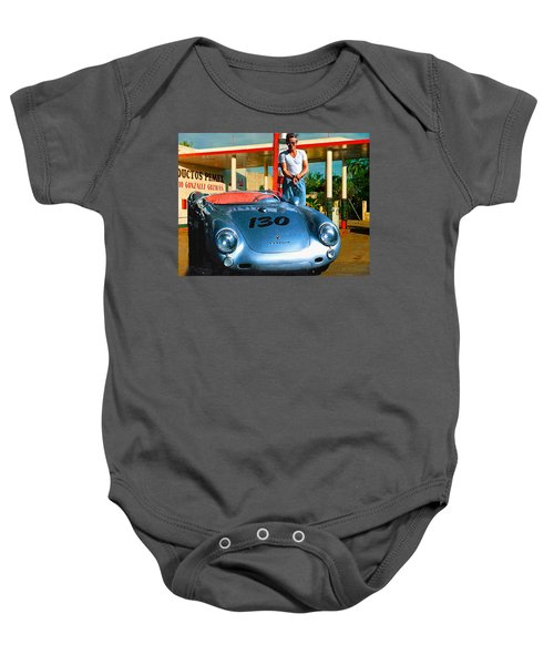 James Dean Filling His Spyder With Gas Baby Onesie