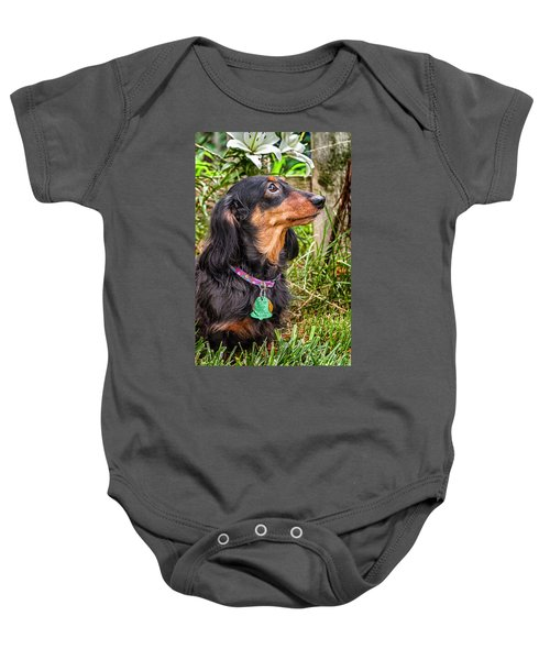 Baby Onesie featuring the photograph Katie by Jim Thompson
