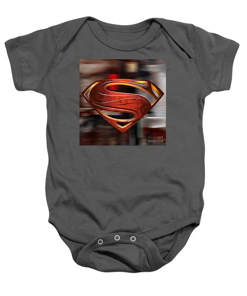 Baby Onesie featuring the mixed media Man Of Steel Superman by Marvin Blaine