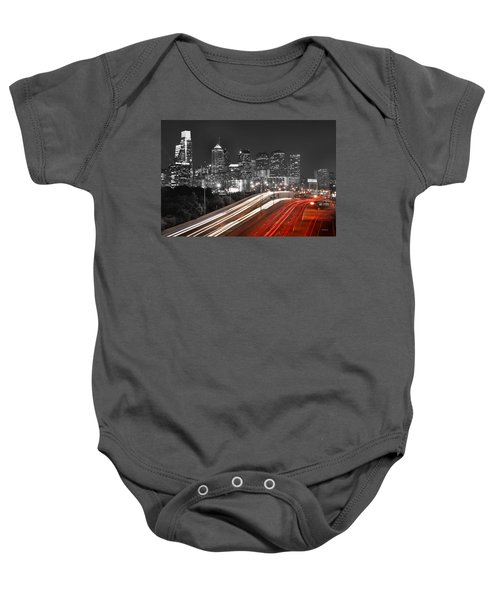 Philadelphia Skyline At Night Black And White Bw  Baby Onesie