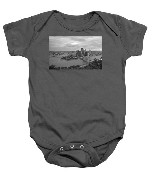 Baby Onesie featuring the photograph Pittsburgh - View Of The Three Rivers by Frank Romeo