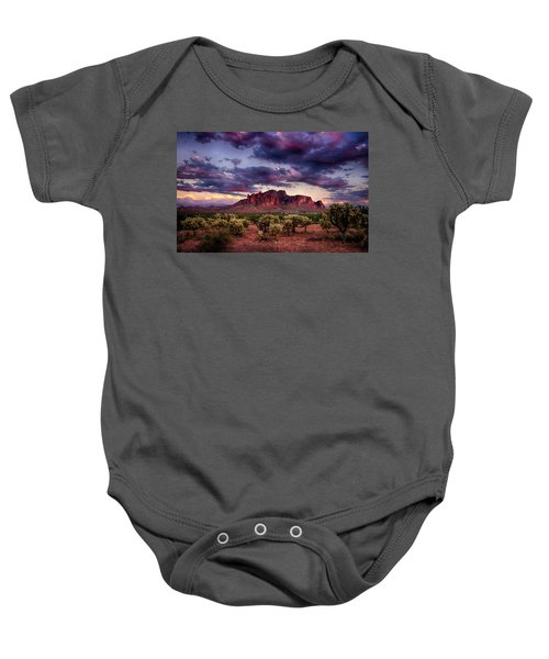 Sunset At The Superstitions  Baby Onesie
