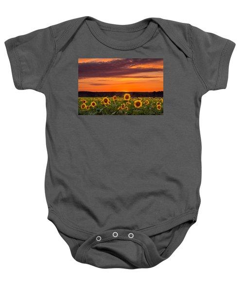 Sunset Over Sunflowers Baby Onesie