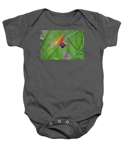 Variegated Fritillary Butterfly In Field Baby Onesie