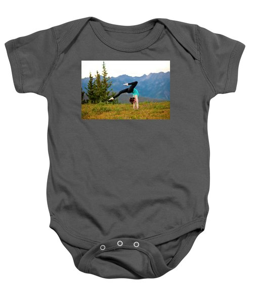 A Woman Performs A Hatha Yoga Pose Baby Onesie