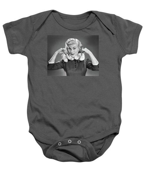 1950s Portrait Blond Woman Holding Baby Onesie