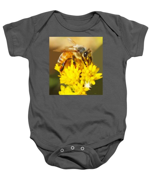 Bee On A Yellow Flower Baby Onesie