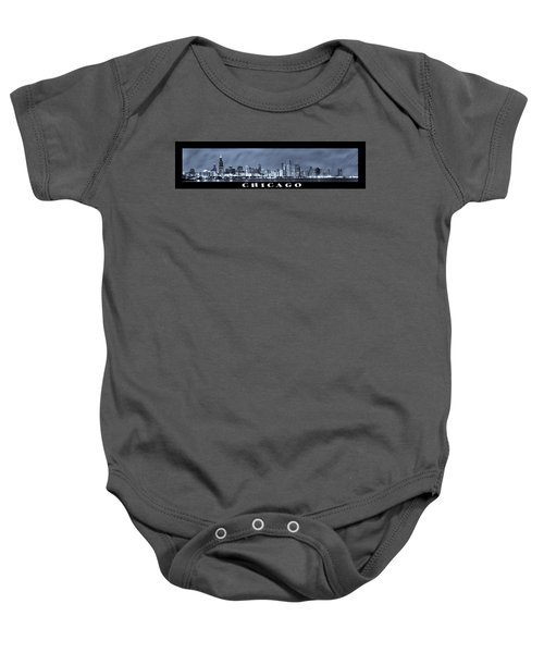 Chicago Skyline At Night Baby Onesie by Sebastian Musial